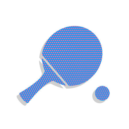 Tennis table paddle with ball. Vector. Neon blue icon with cyclamen