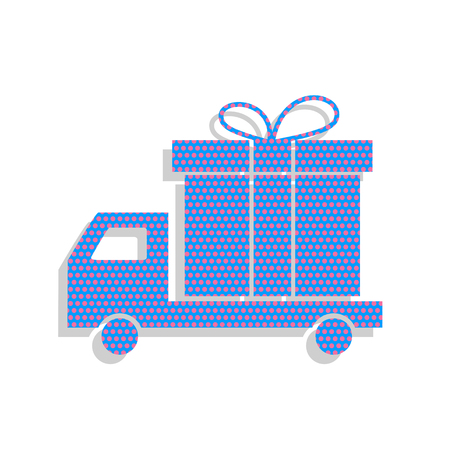 Delivery gift sign. Vector. Neon blue icon with cyclamen polka d