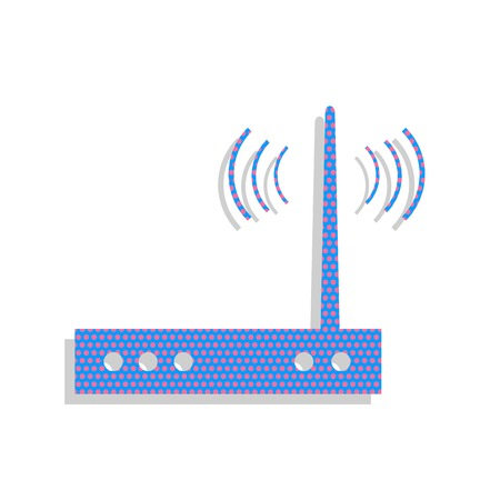 Wifi modem sign. Vector. Neon blue icon with cyclamen polka dots Illustration