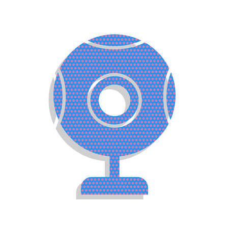 Chat web camera sign. Vector. Neon blue icon with cyclamen polka