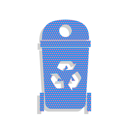 Trashcan sign illustration. Vector. Neon blue icon with cyclamen Vettoriali