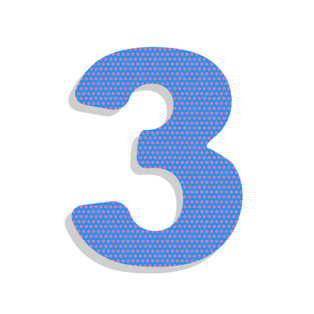Number 3 sign design template element. Vector. Neon blue icon wi