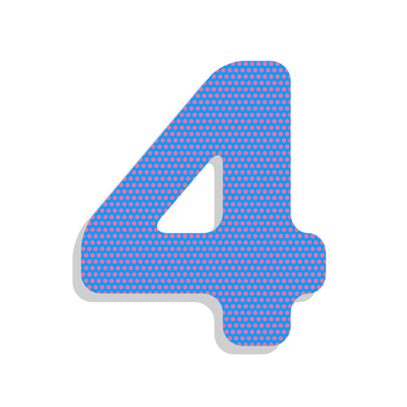 Number 4 sign design template element. Vector. Neon blue icon wi Illustration