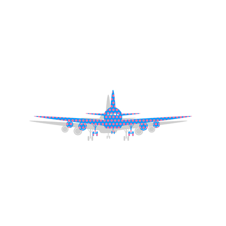 Flying Plane sign. Front view. Vector. Neon blue icon with cycla