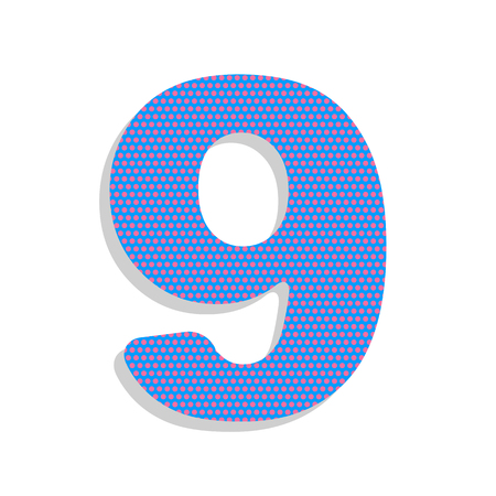 Number 9 sign design template element. Vector. Neon blue icon wi
