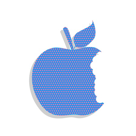 Bited apple sign. Vector. Neon blue icon with cyclamen polka dot