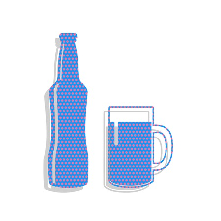 Beer bottle sign. Vector. Neon blue icon with cyclamen polka dot