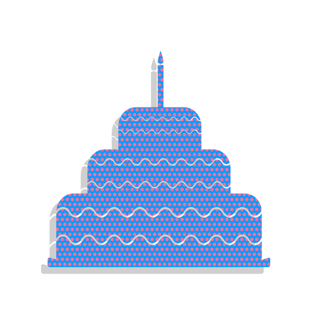 Cake with candle sign. Vector. Neon blue icon with cyclamen polk