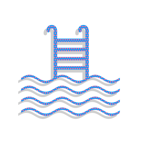 Swimming Pool sign. Vector. Neon blue icon with cyclamen polka d