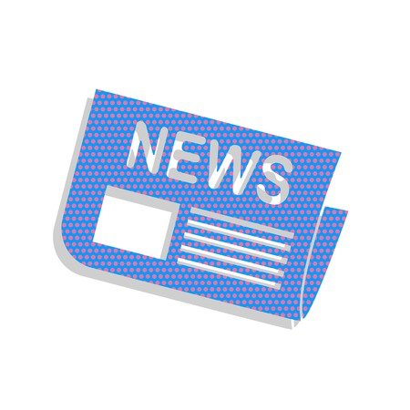 Newspaper sign. Vector. Neon blue icon with cyclamen polka dots