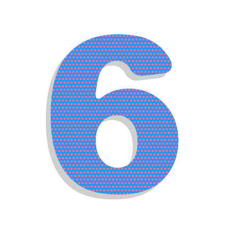 Number 6 sign design template element. Vector. Neon blue icon wi