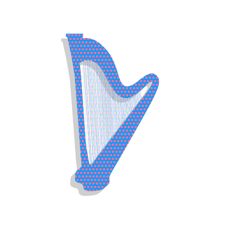 Musical instrument harp sign. Vector. Neon blue icon with cyclam