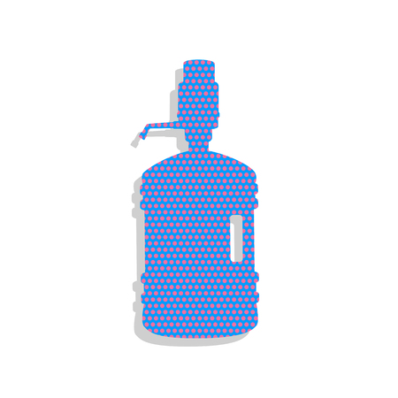 Plastic bottle silhouette with water and siphon. Vector. Neon bl Illustration