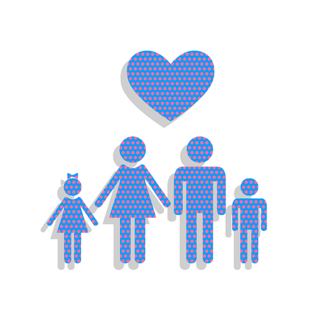 Family symbol with heart. Husband and wife are kept childrens h