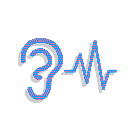 Ear hearing sound sign. Vector. Neon blue icon with cyclamen pol