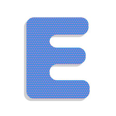 Letter E sign design template element. Vector. Neon blue icon wi