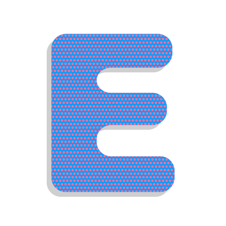 Letter E sign design template element. Vector. Neon blue icon wi