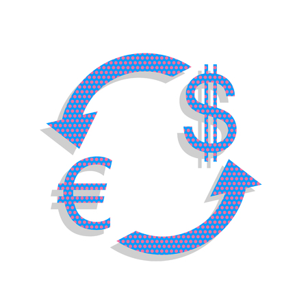 Currency exchange sign. Euro and Dollar. Vector. Neon blue icon