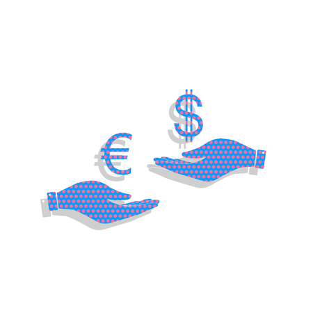 Currency exchange from hand to hand. Euro and Dollar.
