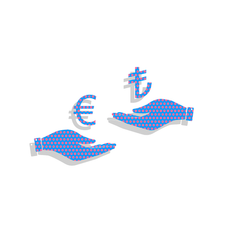 Currency exchange from hand to hand. Euro and Lira. Vector. Neon Illustration