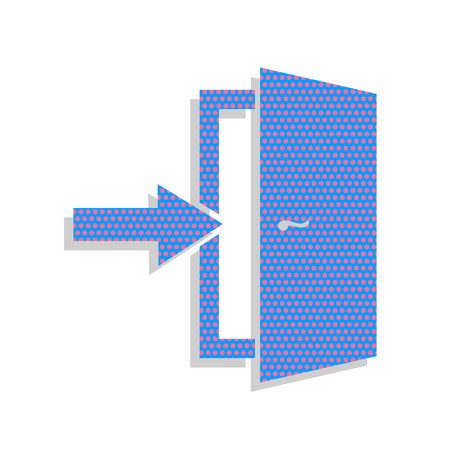 Door Exit sign. Neon blue icon with cyclamen polka dots.
