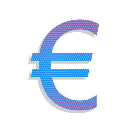 Euro sign. Vector. Neon blue icon with cyclamen polka dots pattern Illustration
