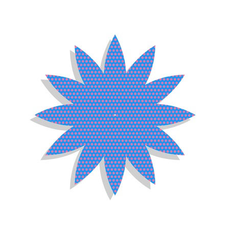 Flower sign. Vector. Neon blue icon with cyclamen polka dots pattern. Illustration