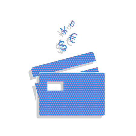 Credit cards sign with currency symbols. Vector. Neon blue icon