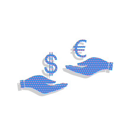 Currency exchange from hand to hand. Dollar adn Euro. Neon blue icon with cyclamen polka dots pattern.