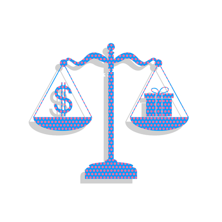 Gift and dollar symbol on scales. Vector. Neon blue icon with cy