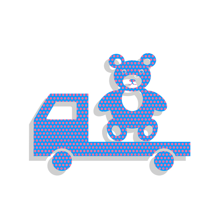 Truck with bear. Neon blue icon with cyclamen polka dots pattern. Illustration