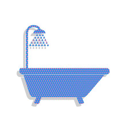 Bathtub sign. Neon blue icon with cyclamen polka dots pattern.