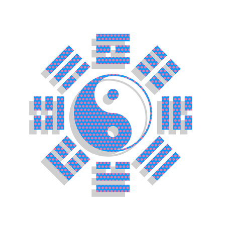 Yin and yang sign with bagua arrangement. Vector. Neon blue icon