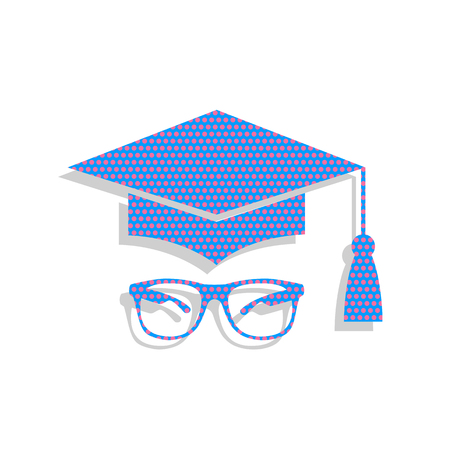Mortar Board or Graduation Cap with glass. Neon blue icon with cyclamen polka dots pattern.