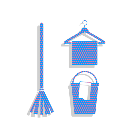 Broom, bucket and hanger sign. Neon blue icon with cyclamen polka dots pattern.