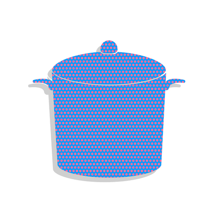 Pan sign. Neon blue icon with cyclamen polka dots pattern.