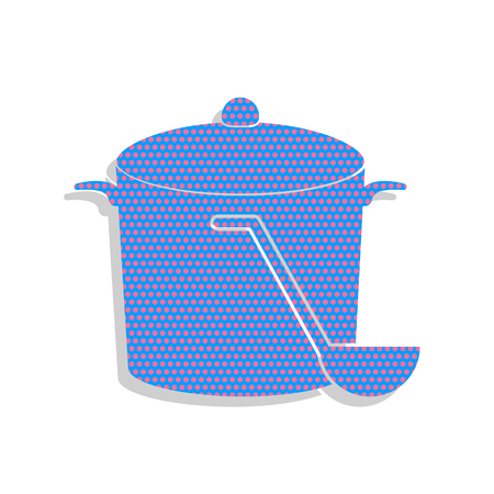 Pan with steam sign. Neon blue icon with cyclamen polka dots pattern.