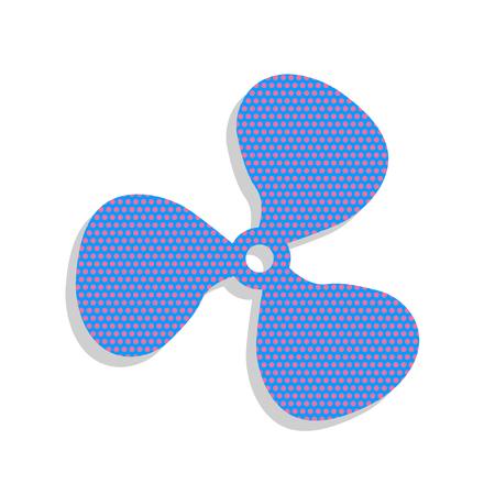 Fan sign. Neon blue icon with cyclamen polka dots pattern.
