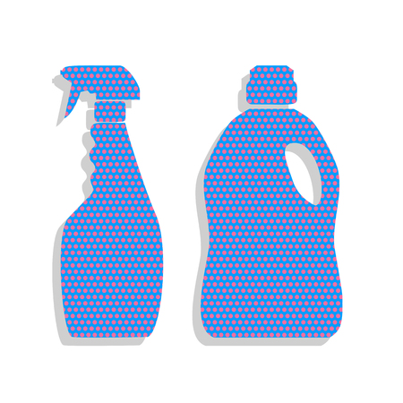 Household chemical bottles sign. Neon blue icon with cyclamen polka dots pattern.