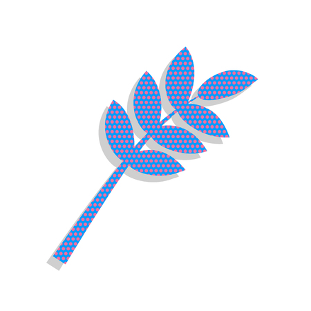 Tree branch sign. Neon blue icon with cyclamen polka dots pattern.