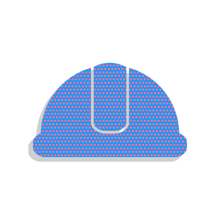 Hardhat sign. Neon blue icon with cyclamen polka dots pattern.