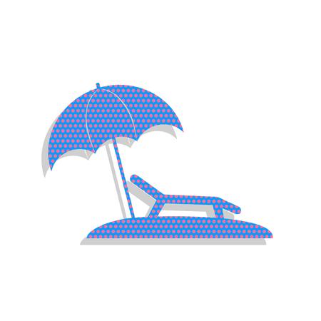 Spiaggia tropicale. Segno di sedia lettino. Vettore. Icona blu al neon Vettoriali