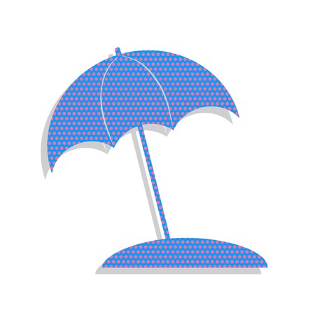 Umbrella and sun lounger sign. Neon blue icon with cyclamen polka dots pattern. Illustration