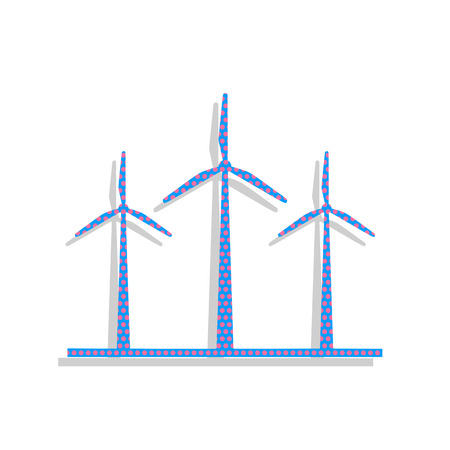 Wind turbines sign. Neon blue icon with cyclamen polka dots pattern.