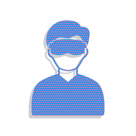 Man with sleeping mask sign. Vector. Neon blue icon with cyclame