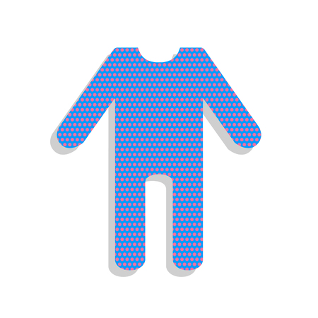 Baby clothes sign. Vector. Neon blue icon with cyclamen polka dots pattern with light gray shadow on white background. Isolated.