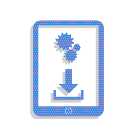 Phone icon with settings symbol. Vector. Neon blue icon with cyc Illustration