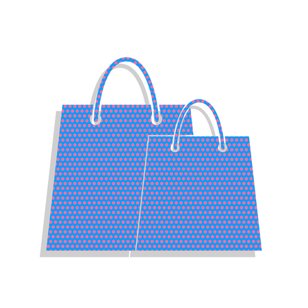 Shopping bags sign. Neon blue icon with cyclamen polka dots pattern.