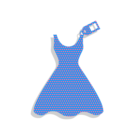 Woman dress sign with tag. Vector. Neon blue icon with cyclamen polka dots pattern with light gray shadow on white background. Isolated.