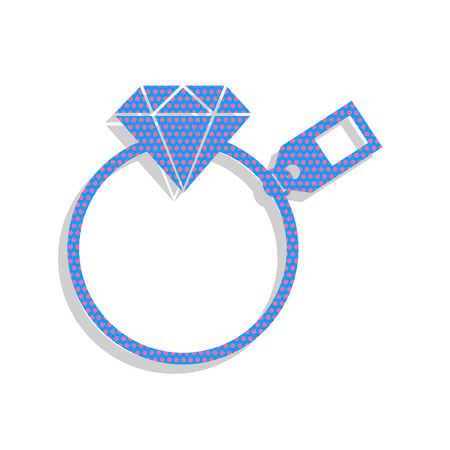 Diamond sign with tag. Neon blue icon with cyclamen polka dots pattern.